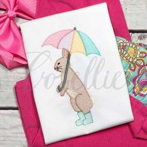 Bunny in boots sketch embroidery design, Vintage bunny, Rabbit, Spring, Rainboots, Umbrella, Easter, Vintage stitch embroidery design, Applique, Machine embroidery design, Blanket stitch, Beanstitch, Vintage