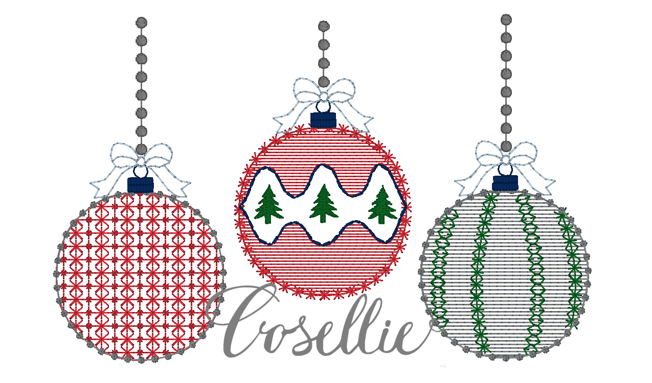 christmas ornaments embroidery design - Vintage Christmas Ornaments