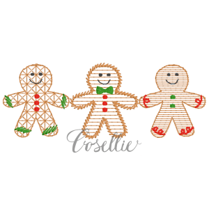 Gingerbread boys embroidery design, Vintage Christmas, Winter, Vintage stitch embroidery design, Applique, Machine embroidery design, Blanket stitch, Beanstitch, Vintage, Gingerbread boys