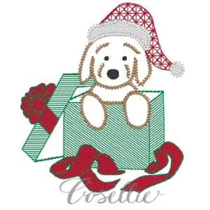 Present puppy embroidery design, Vintage Christmas, Christmas present, Puppy, Dog, Winter, Vintage stitch embroidery design, Applique, Machine embroidery design, Blanket stitch, Beanstitch, Vintage
