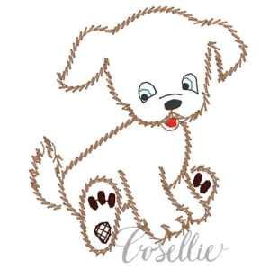 Dog embroidery design, Dog, Simple, Puppy, Vintage stitch embroidery design, Applique, Machine embroidery design, Blanket stitch, Beanstitch, Vintage
