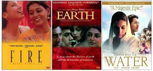 Movie posters for Fire, Earth, Water.