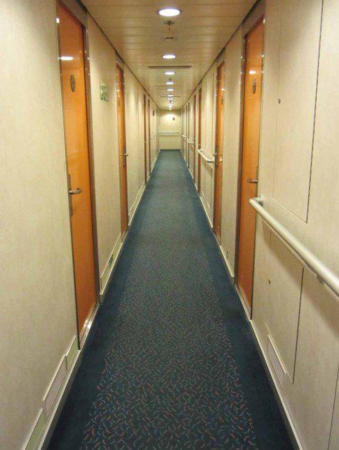 A hallway inside the Spirit of Tasmania ferry.