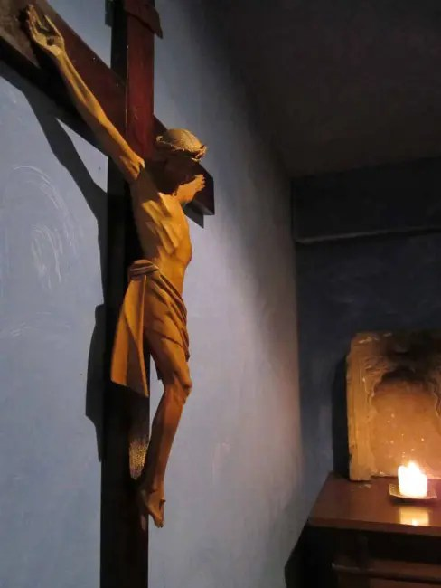 Crucifix on the wall.