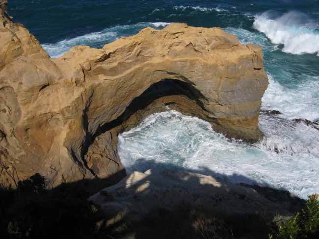 Limestone arch on the coast.