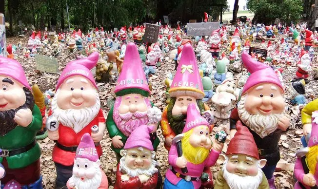 Hundreds of garden gnomes at Gnomeville.
