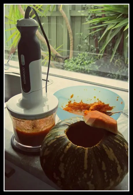 Puree the pumpkin for later use.