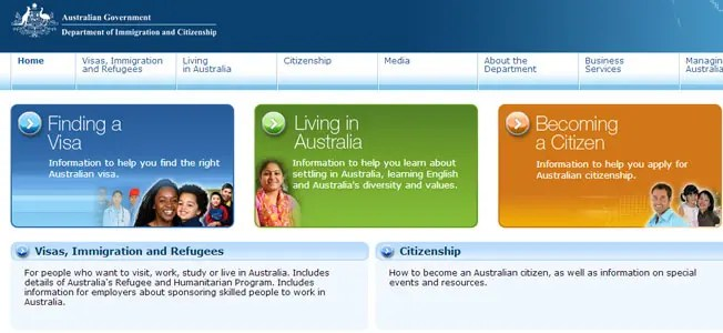 Screenshot of the immigration website with visa and residency information.