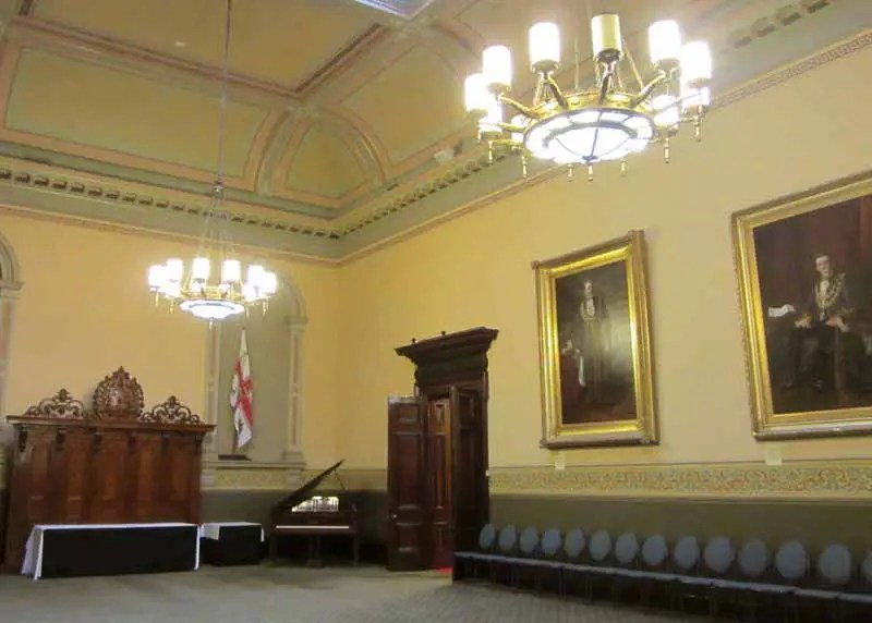Inside Town Hall.
