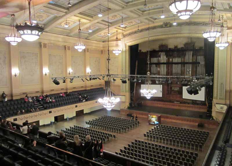A glorious theater inside Melbourne Town Hall.