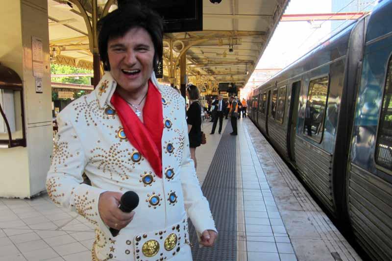 Elvis impersonator at Flinders Street Station.