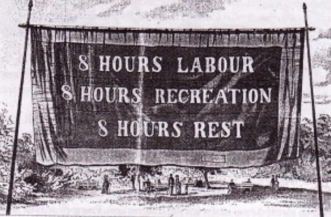 Labour Day. Eight Hour Day Banner, Melbourne, 1856.