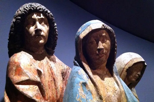 Mary, St John, and St Mary Magdalene, Germany, c. 1470, polychromed limewood.