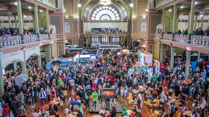 The crowd at Oz Comic Con in the Royal Exhibition Building, Melbourne.