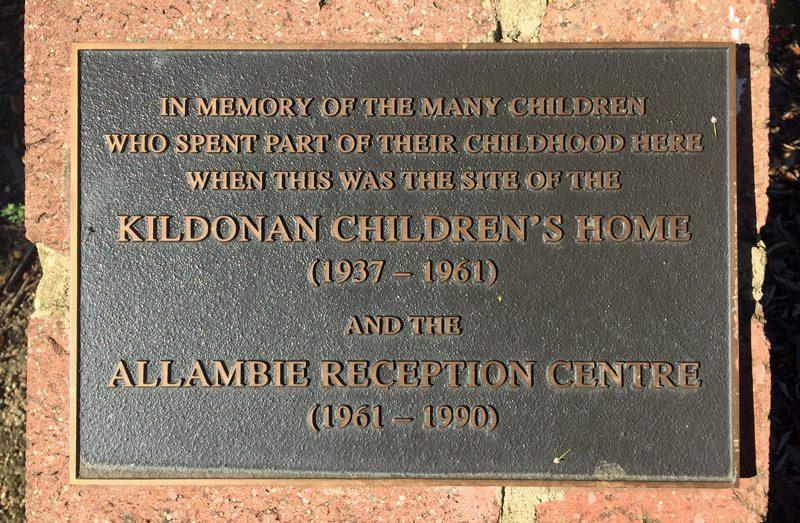 Memorial plaque to Forgotten Australians at Allambie.