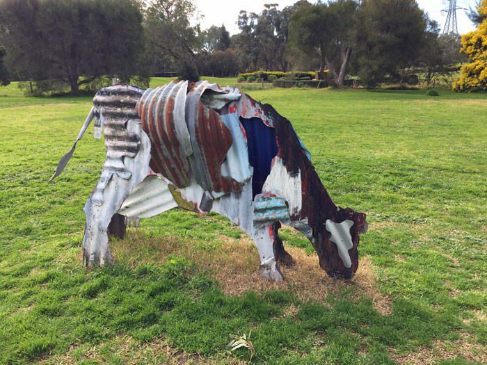 A cow sculpture.