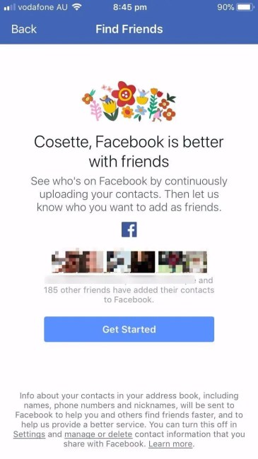 Facebook upload contacts on smartphone app.