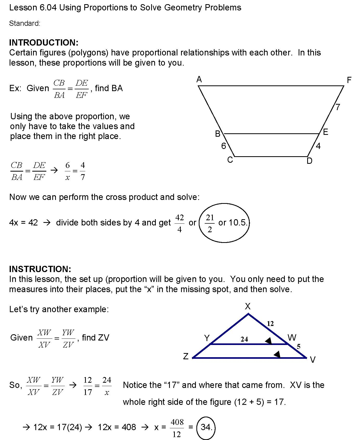 Cosgeometry Lesson 6 04 Using Proportions To Solve