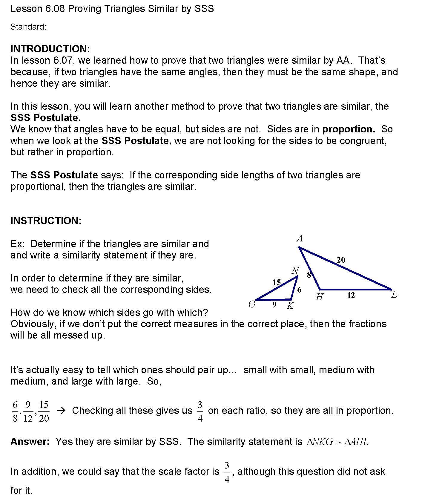 Cosgeometry Lesson 6 08 Proving Triangles Similar By Sss