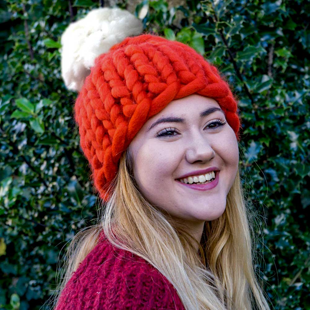 1e424c82104 Super Chunky Knit Santa Hat Roving Hat in Merino Wool