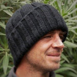 Mens Chunky Hat Pure Merino Wool Watch Cap / Fishermens Hat