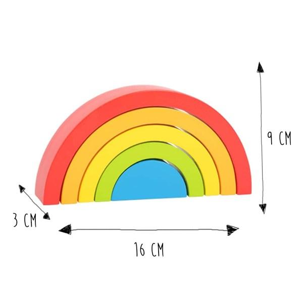 Puzzle Arcoiris De Madera Pequeño, Con 5 Colores Y Formas Diferentes, Juguete Montessori, 5 piezas
