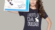 Fernanda Tavares na campanha contra testes em animais para cosméticos.