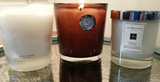 Left to right: Henri Bendel Vanilla Bean, Aquiesse No 107 Boardwalk, and Jo Malone Vanilla & Anise candles