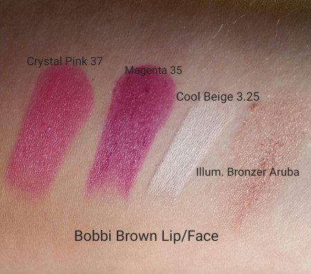 Swatches of Bobbi Brown Sheer Lip Colors in Magenta - 35 & Crystal Pink - 37, Face Touch Up Stick in Cool Beige - 3.25, and Illuminating Bronzing Powder - Aruba.