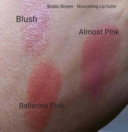 Bobbi Brown Nourishing Lip Colors for comparison - Blush, Almost Pink, & Ballerina Pink - natural light