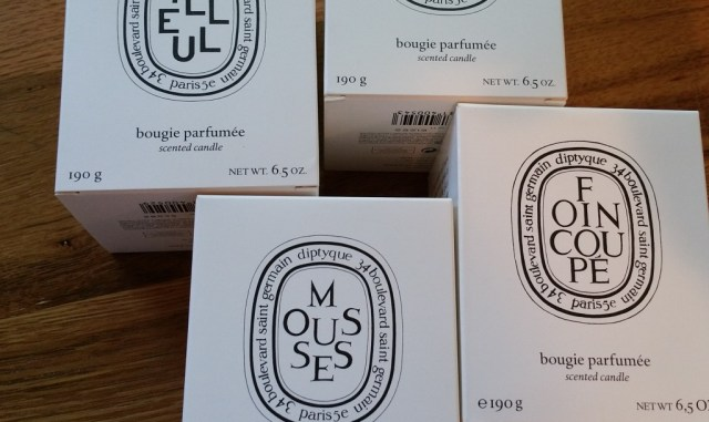 Diptyque Tilleul, Foin Coupe, and Mousses Candles