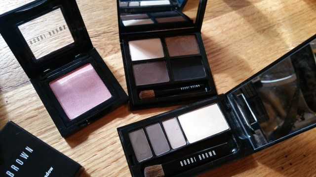 Left to right: Bobbi Brown Pink Chiffon Eye Shadow, Eye Shadow Quad from the Define and Glow Set, and a mini Classic Eye Palette