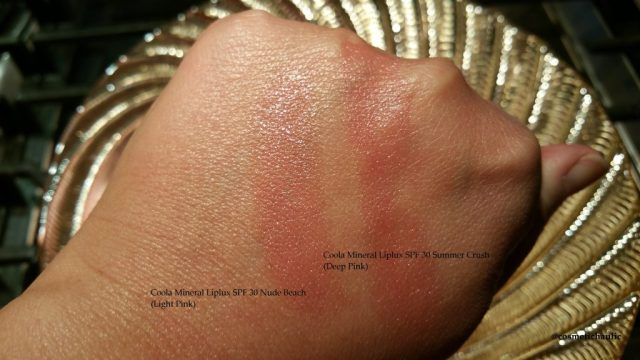 Coola Mineral Liplux SPF 30 in Nude Beach and Summer Crush, swatched