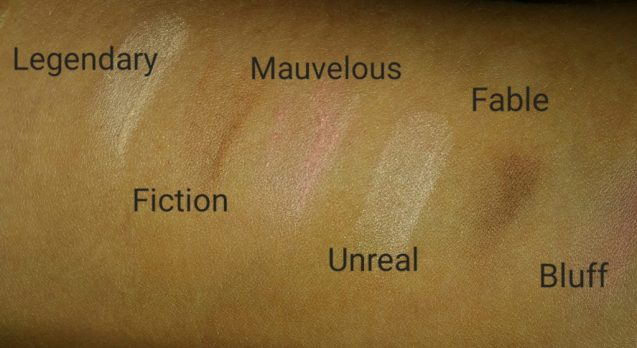 Pur Cosmetics Epic Illusion Artist Blush and Contour Palette, swatched of six shades on arm - with flash