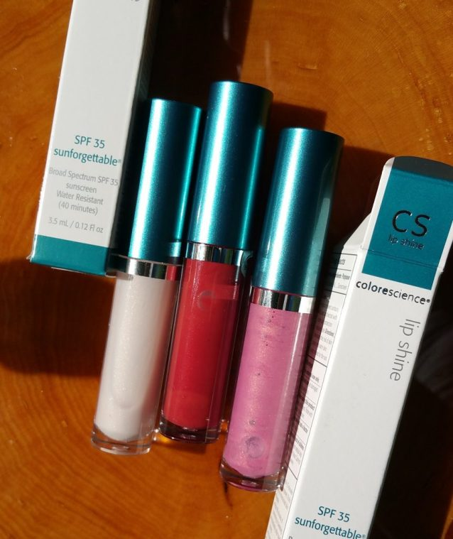 Colorescience Sunforgettable Lip Shines SPF 35 -Clear, Siren, and Pink - left to right