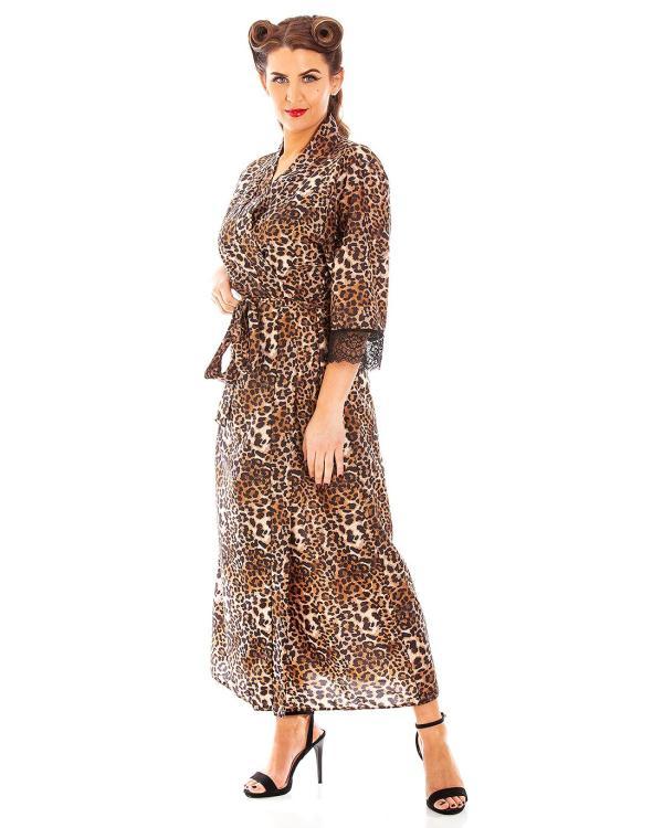 Panthera Leopard Print Long Vintage Style Robe
