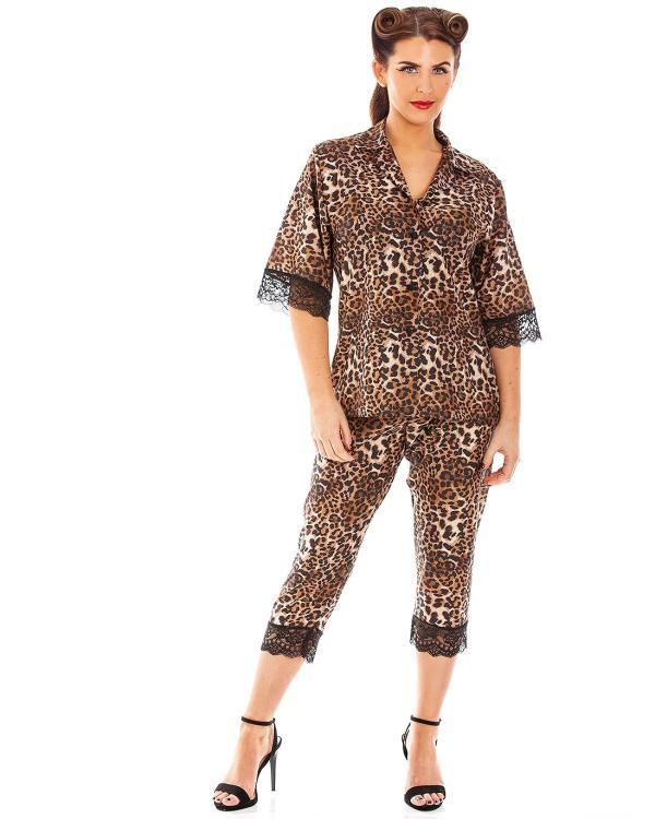 Panthera Leopard Print Short Sleeve Capri Pyjamas