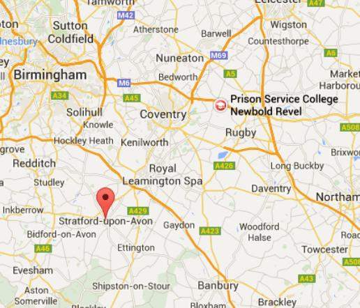 Stratford-upon-Avon, Warwickshire, UK ligt op 25 mijl van Newbold Revel Warwickshire