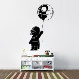 Baby Vader with Death Star Balloon Vinyl Wall Decal
