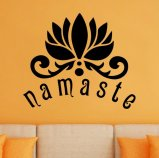 Namaste with Lotus Flower Vinyl Wall Decal