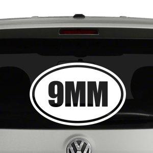 9mm Oval Euro Style Gun Ammo Vinyl Decal Sticker