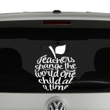 Teachers Change The World One Child at a Time Apple Vinyl Decal Sticker