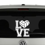 Love with Volleyball Heart Vinyl Decal Sticker