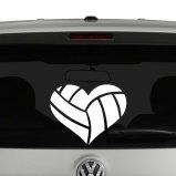 Volleyball Heart Vinyl Decal Sticker
