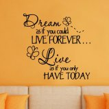 Dream As If You Could Live Forever Live As If You Only Have Today Vinyl Wall Decal
