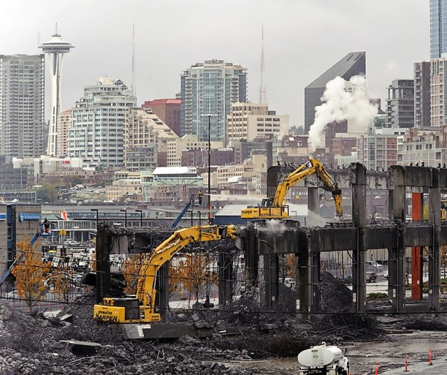 A portion of Seattle's Alaskan Way Viaduct was demolished in 2011 to reduce the road's vulnerability to earthquake damage. Scientists say the Pacific Northwest could experience a magnitude-9 quake and tsunami like the one that hit Japan in 2011. (Credit: WSDOT)