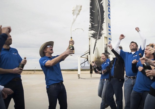 Image: Jeff Bezos and Blue Origin's New Shepard craft