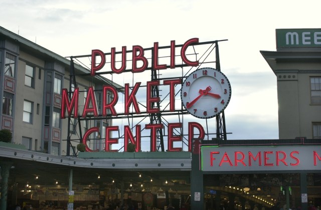 The clock at Seattle's Pike Place Market will have to be set manually after Sunday's switch to daylight saving time. (Credit: Erik Stuhaug / Seattle.gov Imagebank)