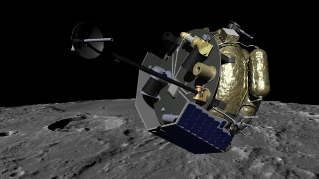 An artist's conception shows the Moon Express MX-1 spacecraft orbiting the moon. (Credit: Moon Express)