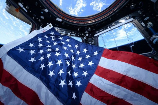 Image: U.S. flag on space station